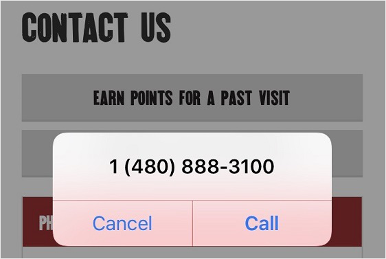 clickable phone number example.