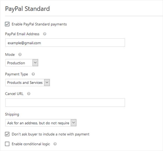 configure paypal settings