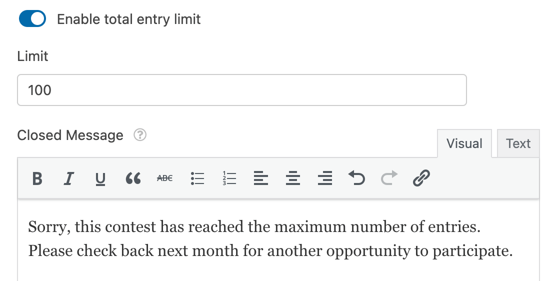 Setting a total entry limit for a form
