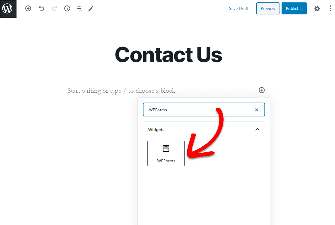 contact us page add form with widget