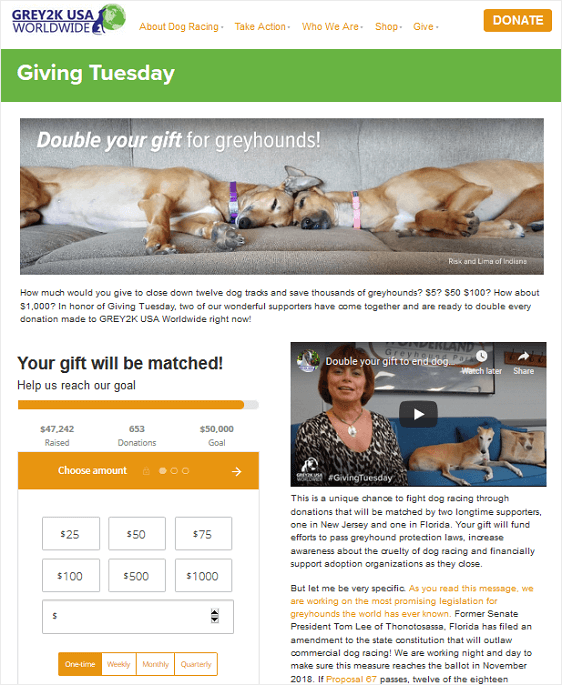 donation matching example