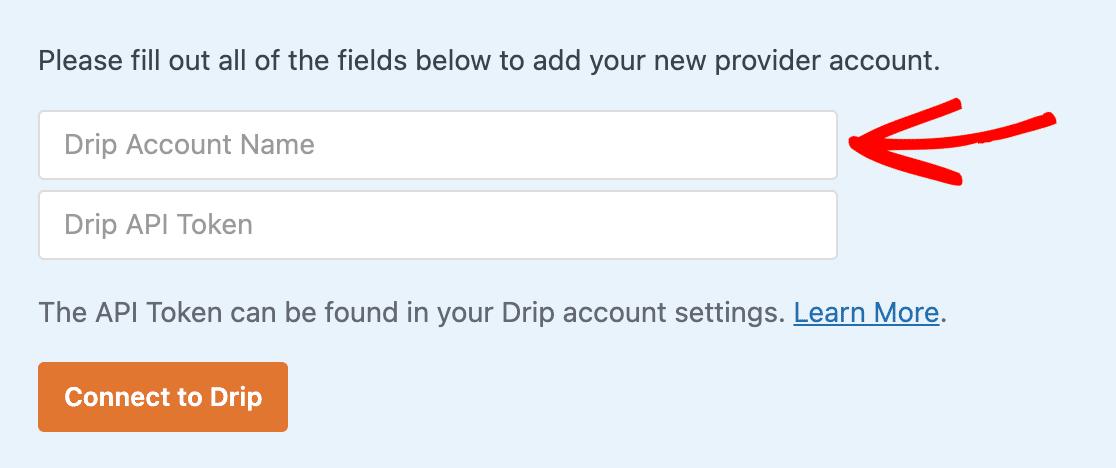 Entering a Drip account name