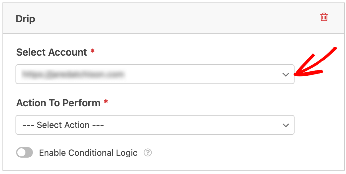 Selecting a Drip account to connect to a form