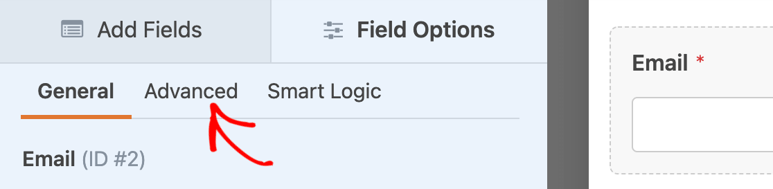 Opening the advanced field options for an email field