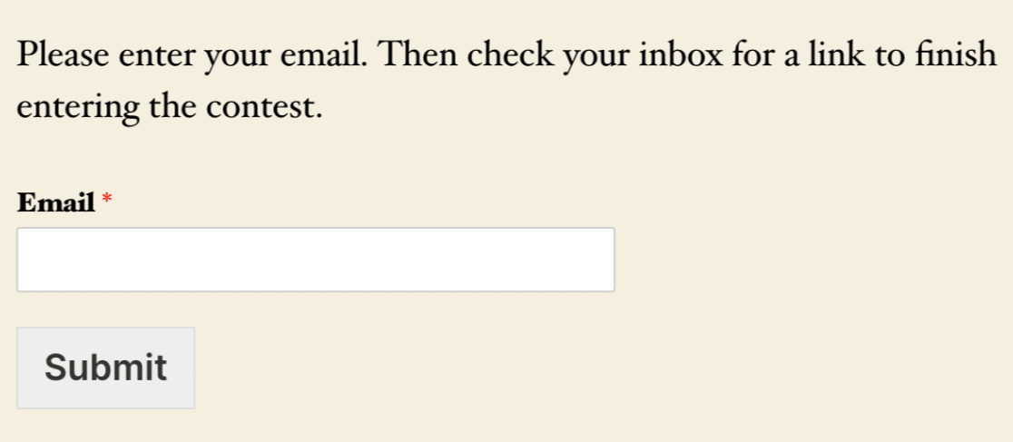 An email verification field on the frontend