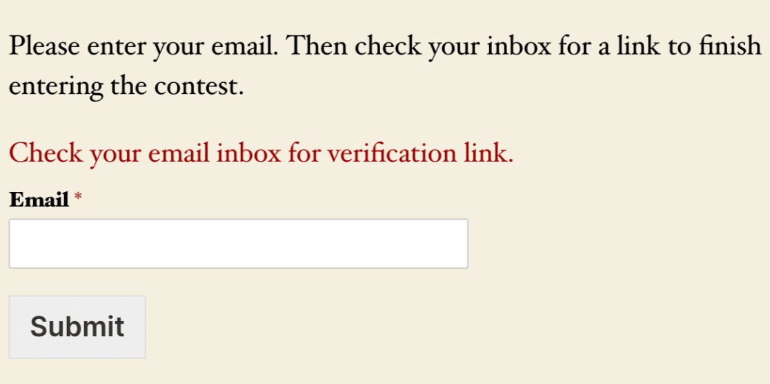 The email verification validation message