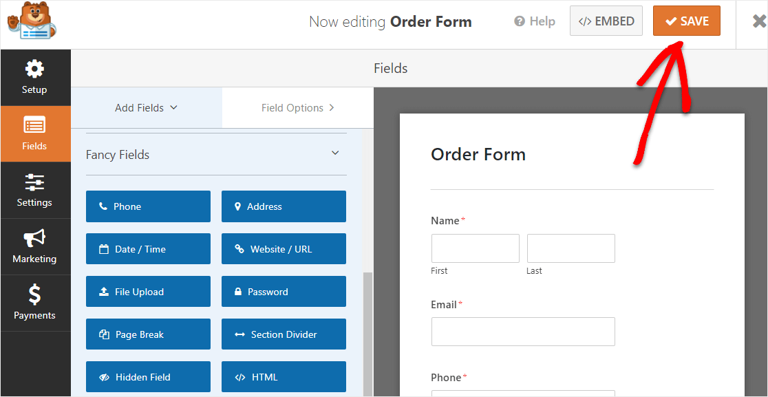 embed order form on site