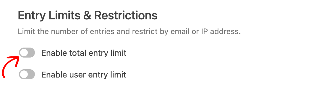 Enabling a total entry limit in the Form Locker addon