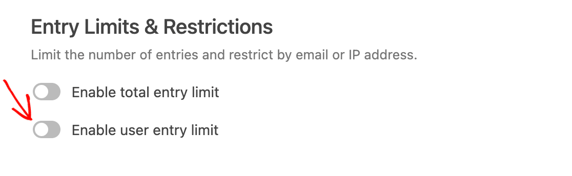 Enabling the user entry limit option in the Form Locker addon settings
