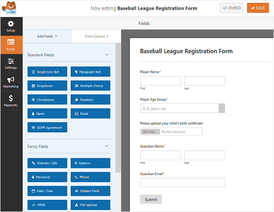 file upload form example