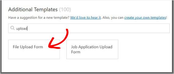file upload form template