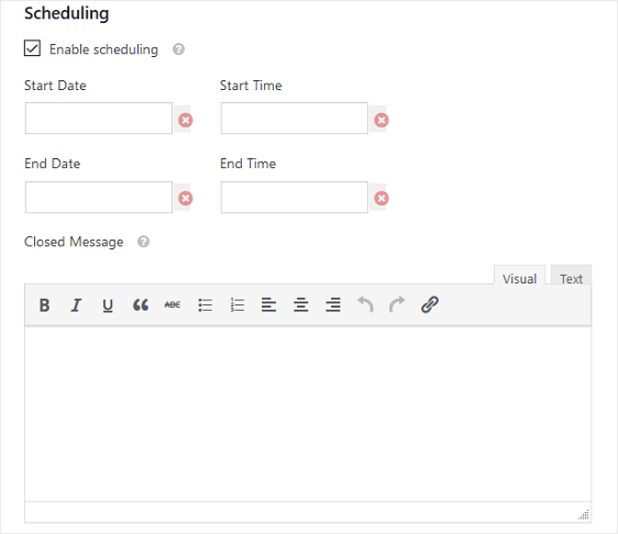 form locker scheduling settings