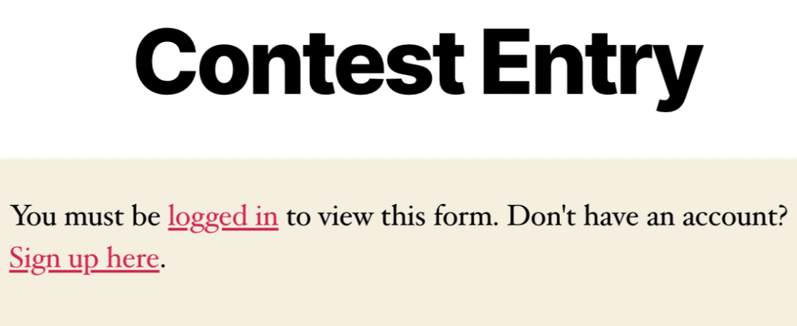 An example of a restricted form on the frontend