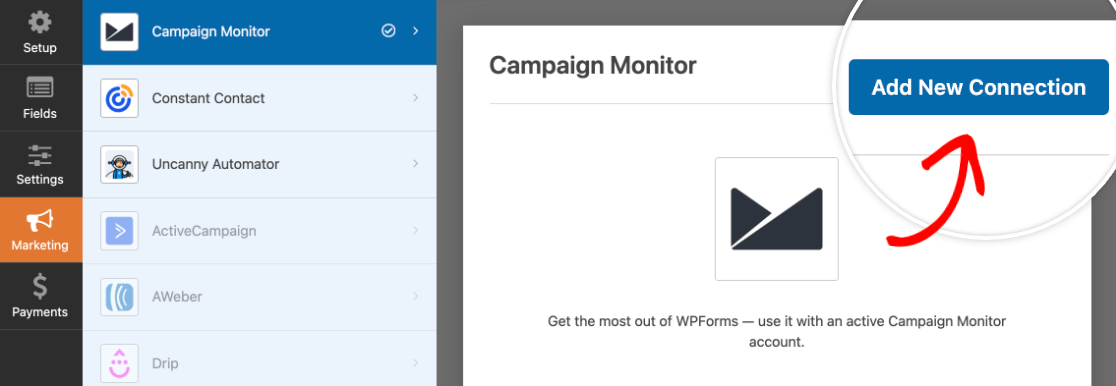 Adding a Campaign Monitor connection to a form