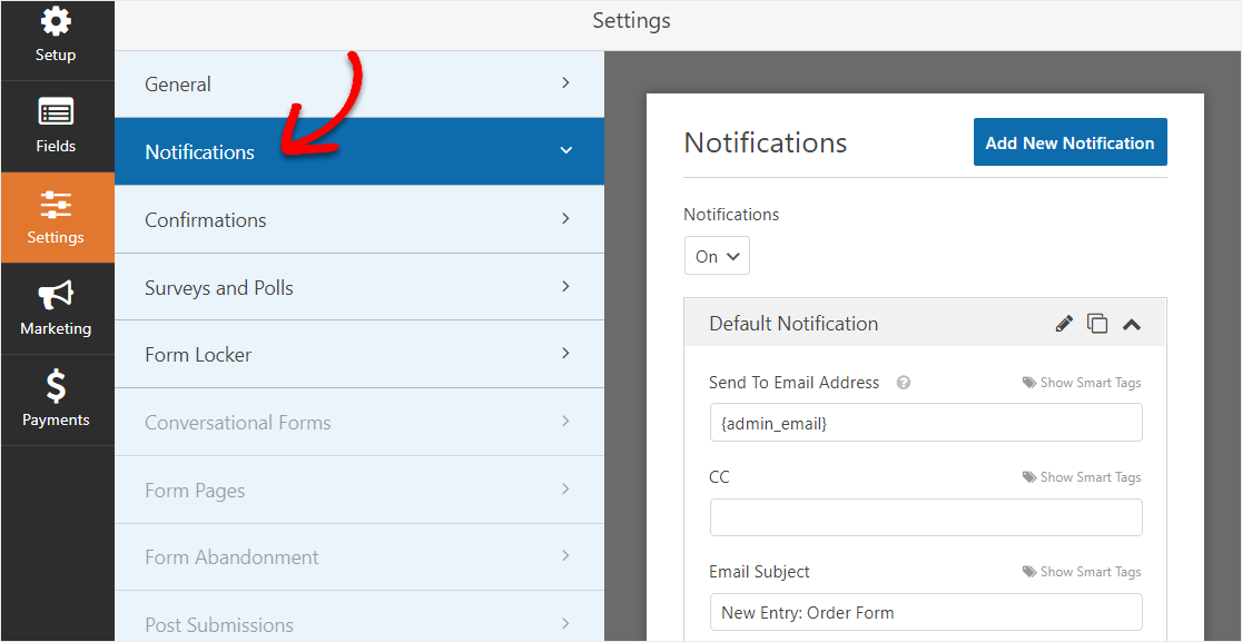 order form notification settings