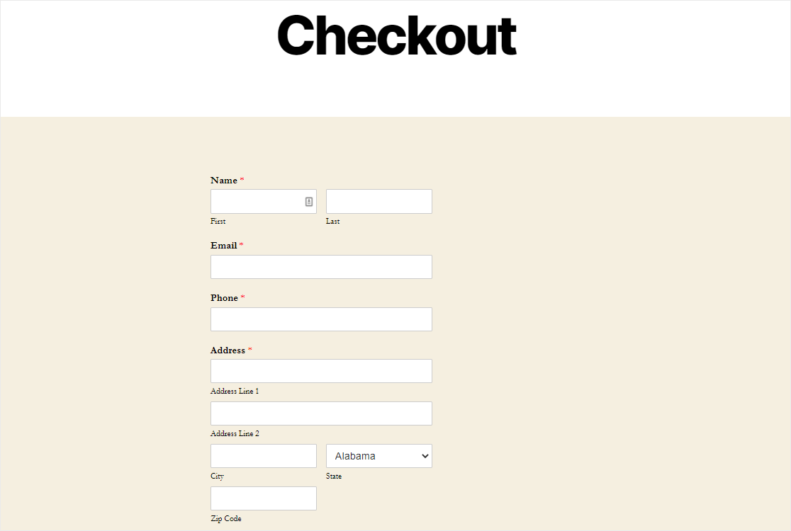 order form page