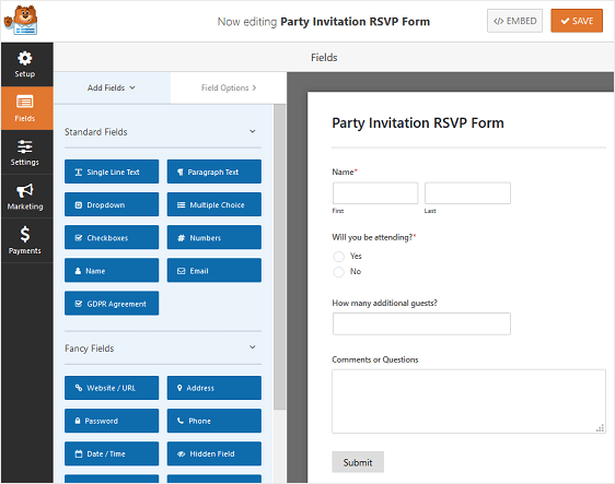 party invitation rsvp form