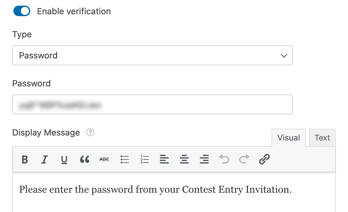 Setting up password verification with the Form Locker addon