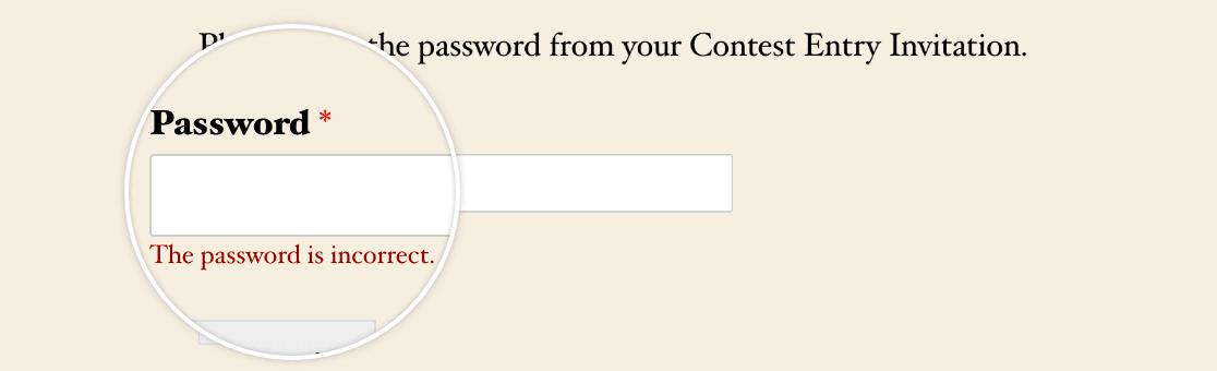 The password verification validation message