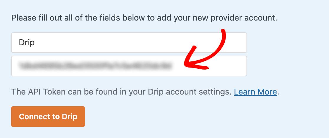 Pasting the Drip API Token into the WPForms settings