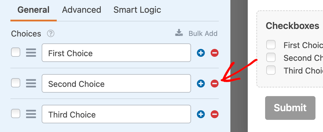 Removing extra Checkboxes field items