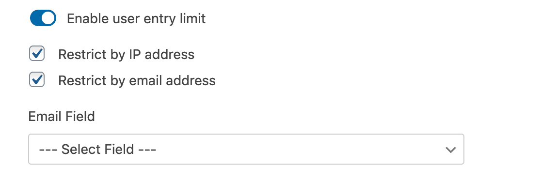 Restricting entries by IP address and email address