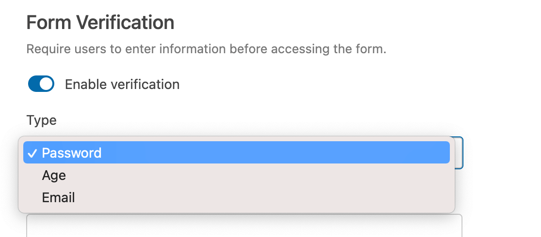 Selecting and Form Locker verification type