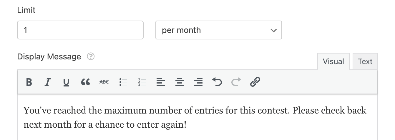 Limiting entries to one per user per month
