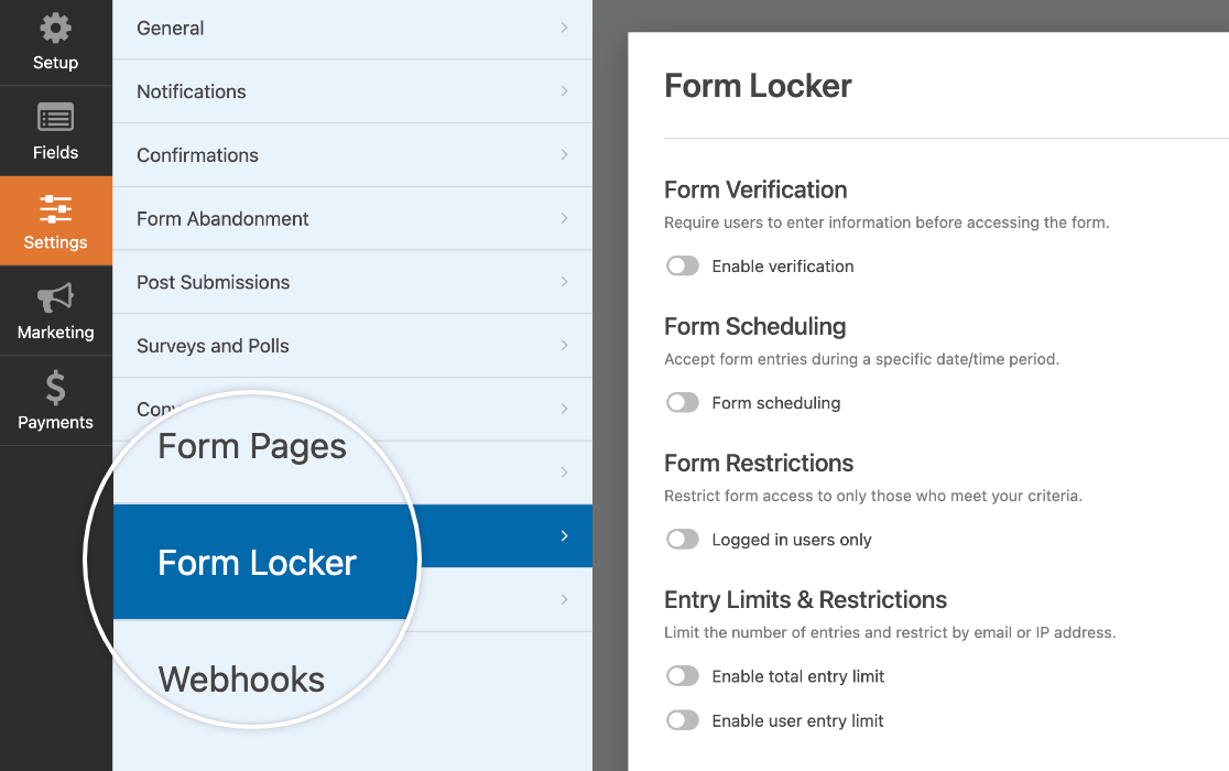 Opening the Form Locker addon settings in the form builder