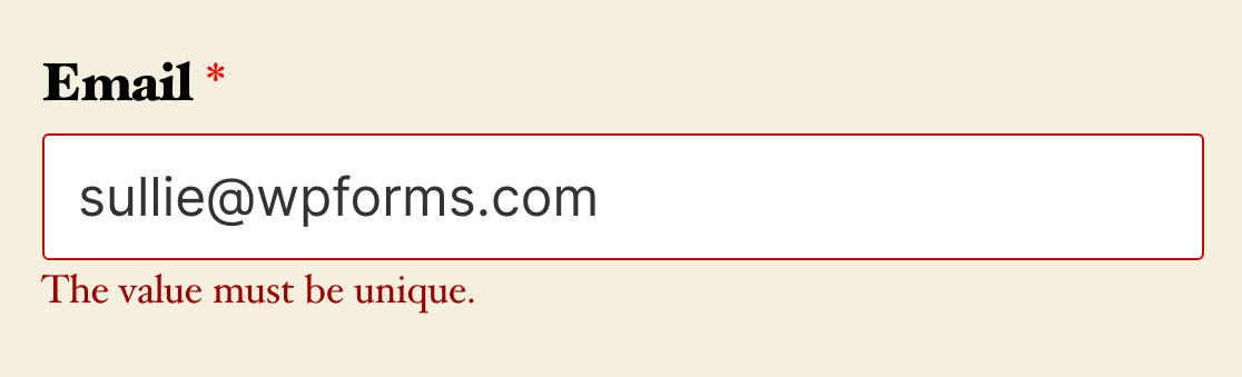 The validation message for fields that require unique answers