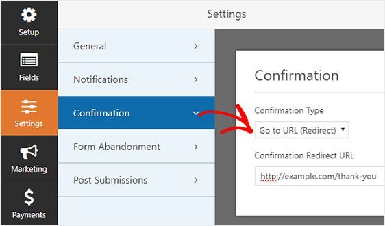 wordpress form redirect after form submission