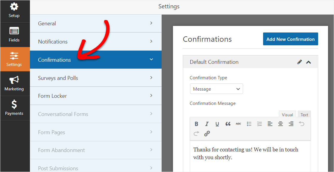 wpforms confirmation settings screen