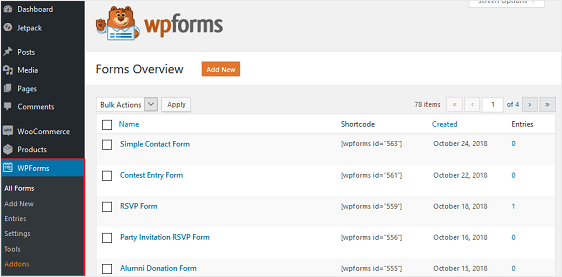 wpforms form management
