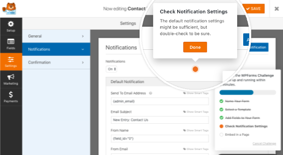 Check form notification email settings