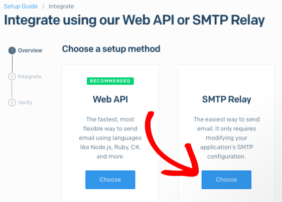 Choose SMTP relay for SendGrid setup