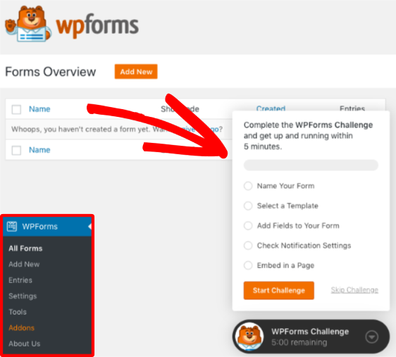Open the WPForms Challenge