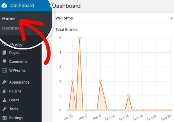Open the WordPress dashboard to view WPForms entries widget