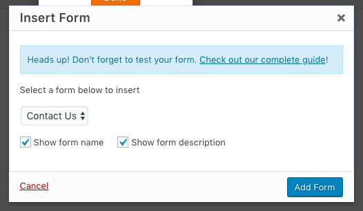 Settings to embed form on page
