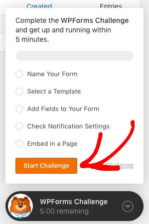 Start the WPForms Challenge
