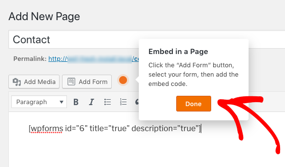 WPForms shortcode added to a page builder