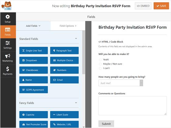 birthday party rsvp form