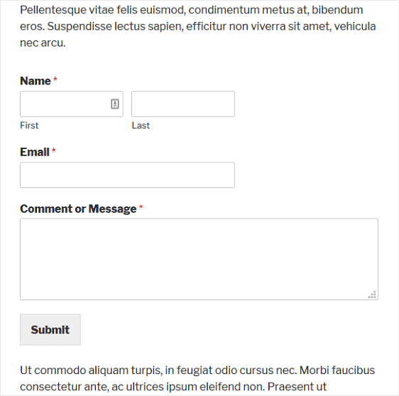 contact form in your wordpress content example