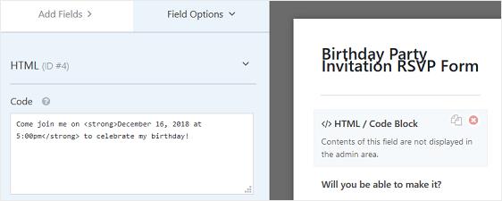 customize rsvp form