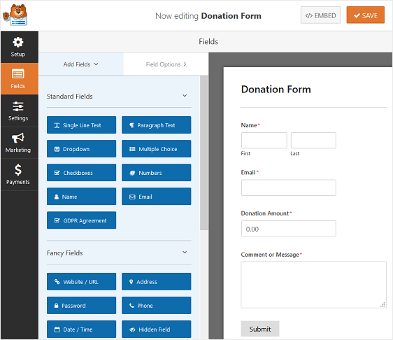 donation form without customization