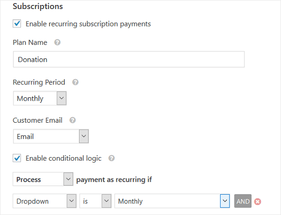 enable recurring payments