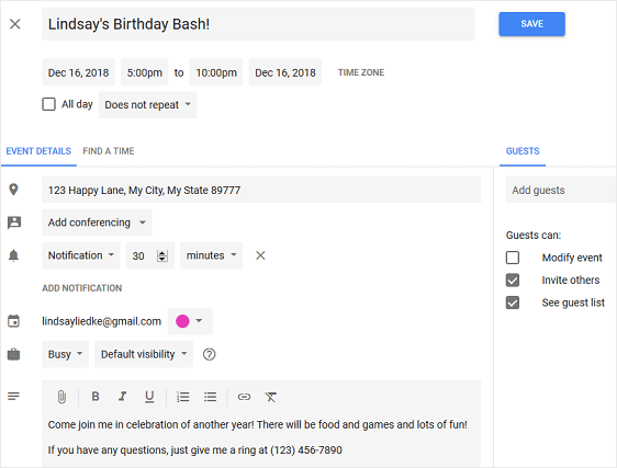 event creation in google calendar