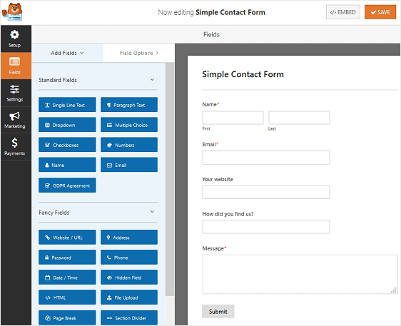 long contact form example