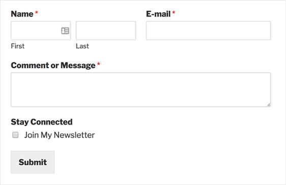 newsletter checkbox