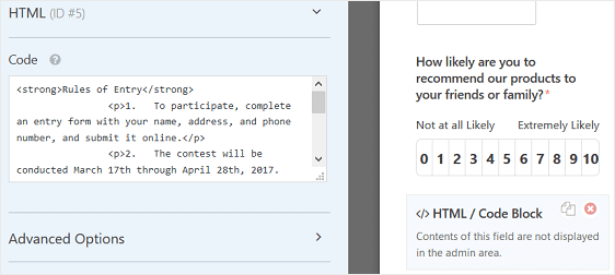 rules of entry html form field