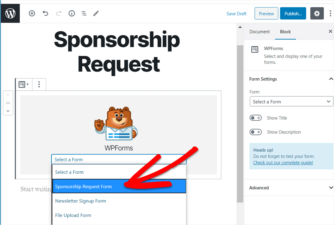 select sponsorship request form template from dropdown menu